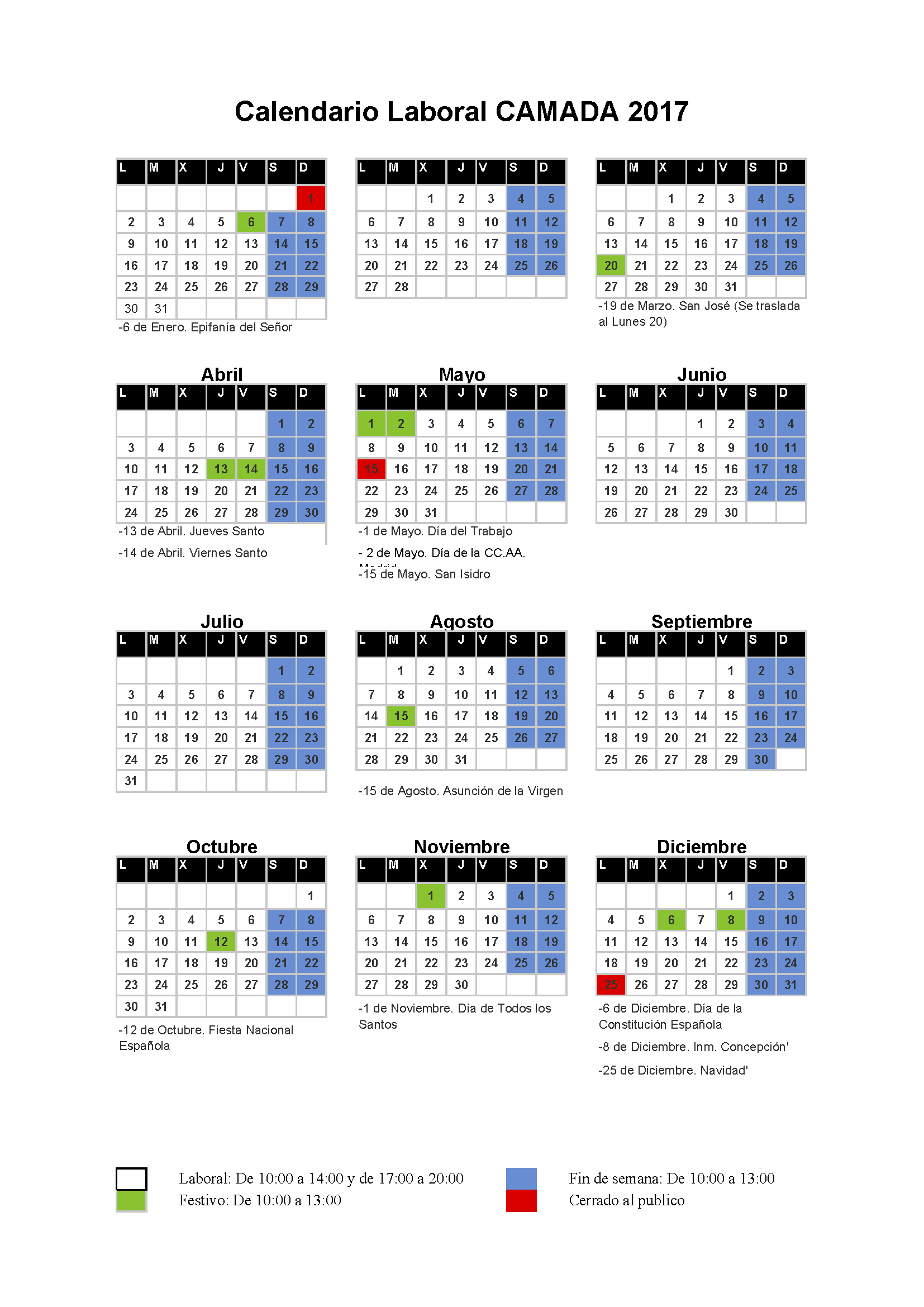 Calendario laboral Camada 2017