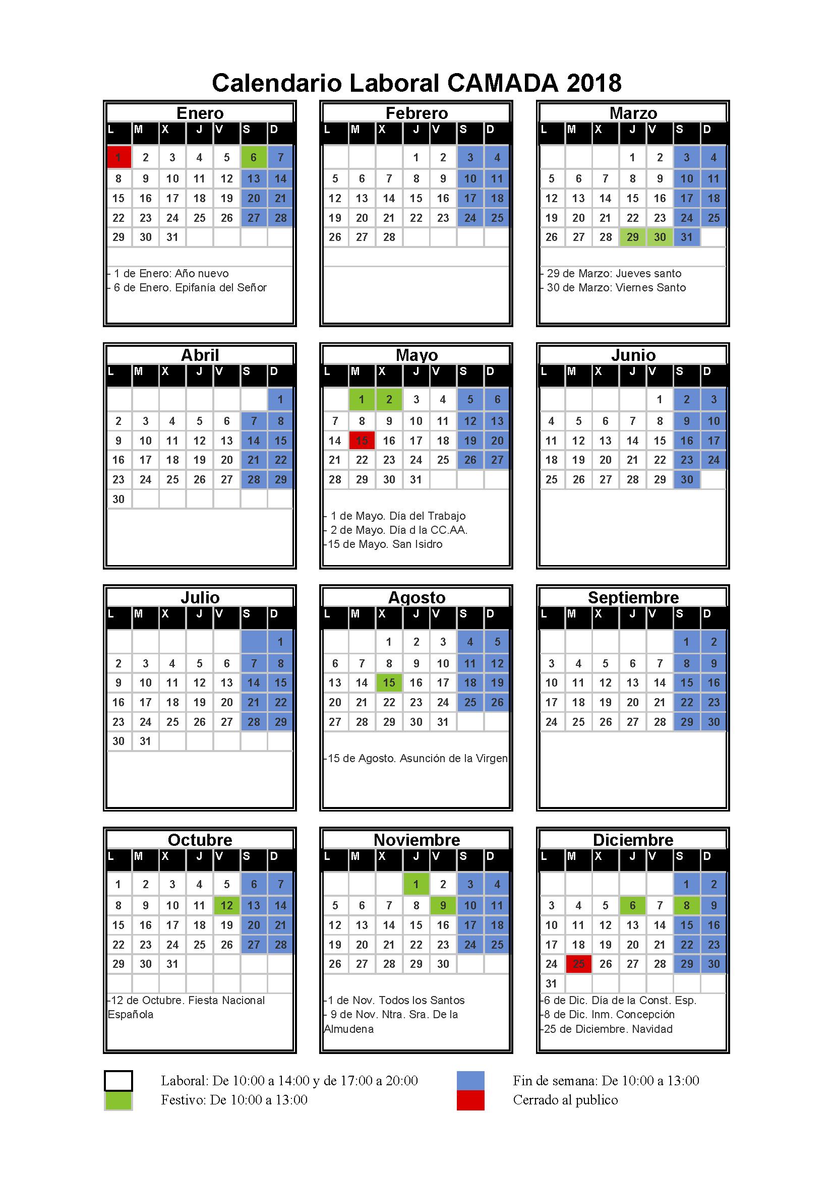 Calendario laboral Camada 2018