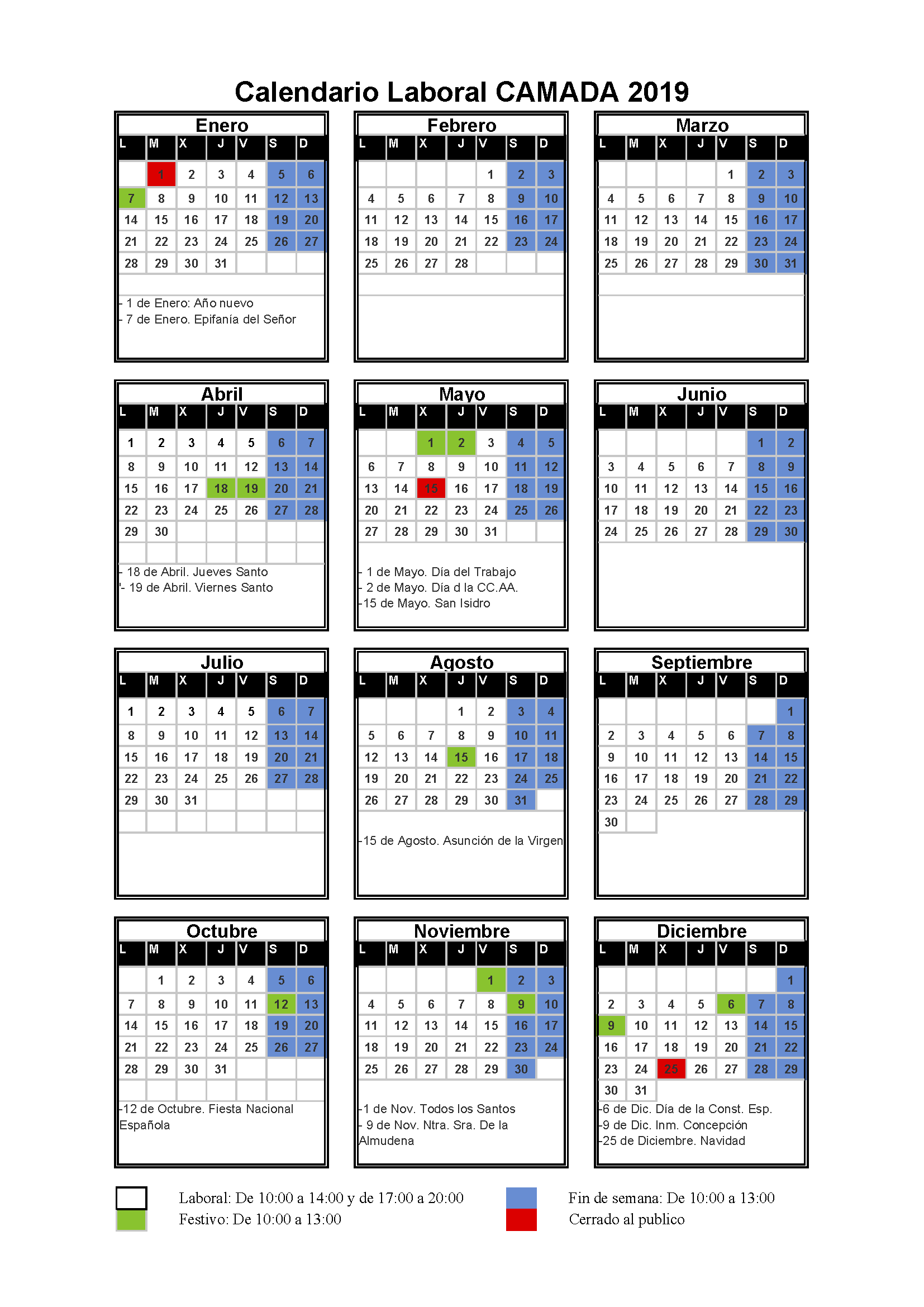 Calendario laboral Camada 2019
